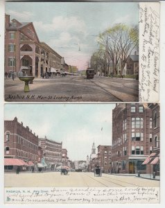 P2083, 2 dif 1907 postcards trolly horse & wagons etc main street nashua NH
