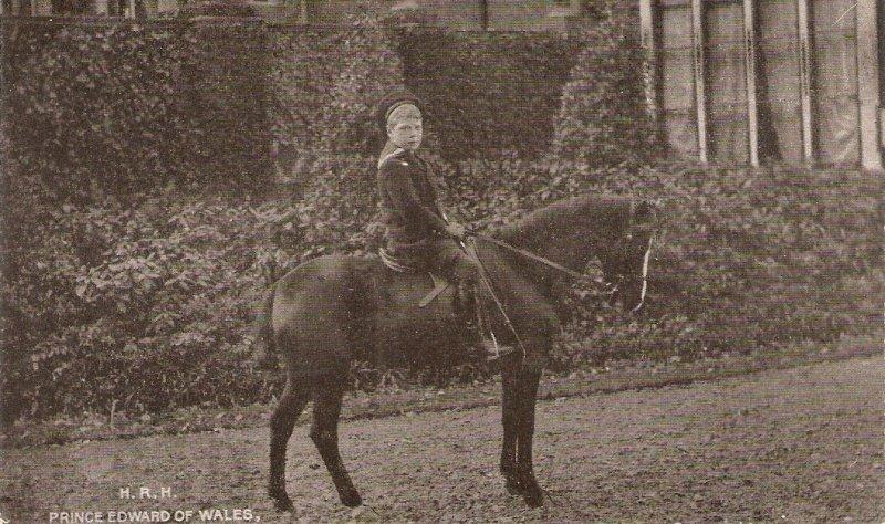 H.R.H. Prince EWdward of Wales on horse  Old vintage English postcard