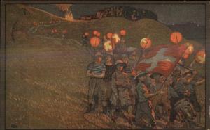 1912 Swiss Switzerland Propaganda Boy w/ Flag & Lanterns Poster Art Used PC