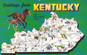 Greetings From Kentucky The Blue Grass State With Map