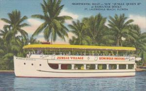 Florida Fort Lauderdale Beach Sightseeing Boat Jungle Queen II At Bahia-Mar D...