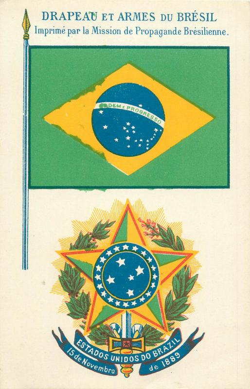 Brasil heraldry crest coat of arms flag patriotic postcard