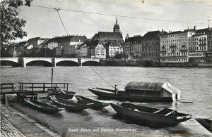 Switzerland Basel Rhein bridge ferry boats 1961 RPPC le Bac et le Pont du Milieu