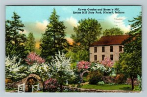 Mitchell IN- Indiana, Spring Mill State Park, Flowers, Chrome c1957 Postcard