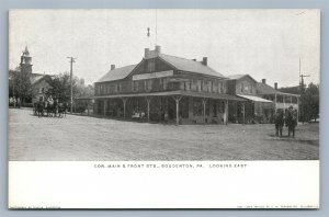 SOUDERTON PA MAIN & FRONT STREETS DOUBLE SIDED ANTIQUE POSTCARD