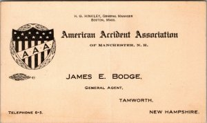 MANCHESTER , NH - AMERICAN ACCIDENT ASSOCIATION - BUSINESS CARD - JAMES BODGE