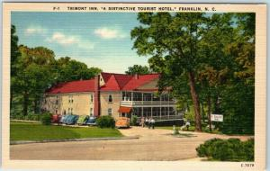 Franklin, North Carolina Postcard TRIMONT INN Hotel Roadside Linen c1940s Unused