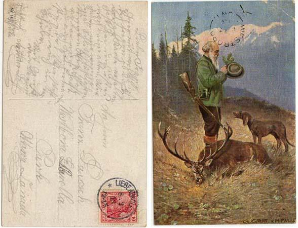 Germany to Canada - 1913 Post Card w. Hunter, Dog, Game