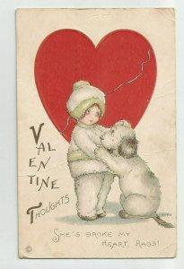 Postcard ~ Valentine Thoughts ~ She Broke My Heart Rags ~ Boy, Dog ~ Stecher