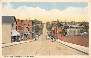 Akron Ohio Street Scene Store Fronts Historic Bldgs Antique Postcard K18109