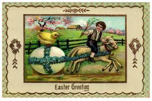 1114   Easter     Boy riding sheep pulling an Egg