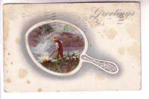 Man with Bonfire in Mirror Shaped Picture, Greetings, AMP Co, Used 1910 Winnipeg