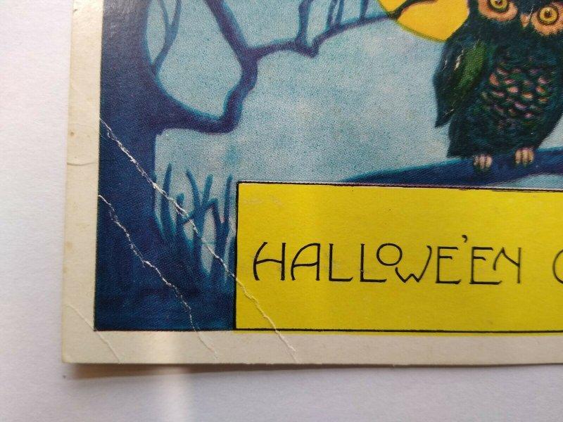 Halloween Postcard Whitney 2 Owls Vintage Original Blue Background Greetings
