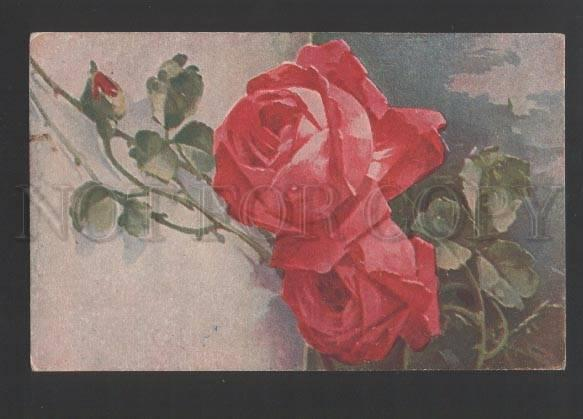 120534 Red ROSES by C. KLEIN vintage KEDDAR Russian PC