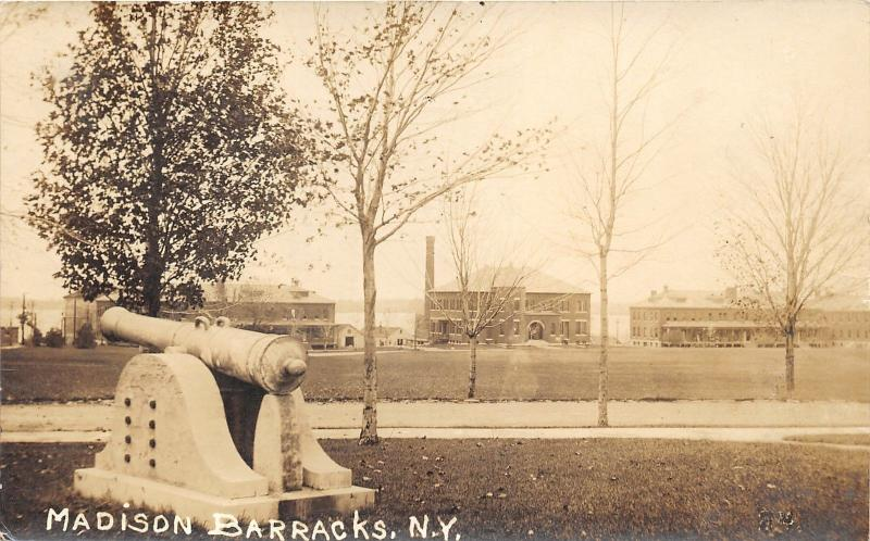 Madison Barracks New York~Army Base~Buildings~Cannon~1918 WWI era RPPC-Postcard