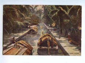 151564 CEYLON Negombo Canal & Padda Boats Vintage PC