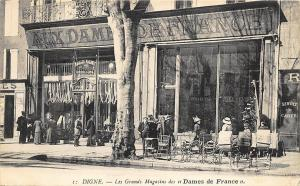Paris Selling Wares On The Sidewalk Aux Dames de France Postcard
