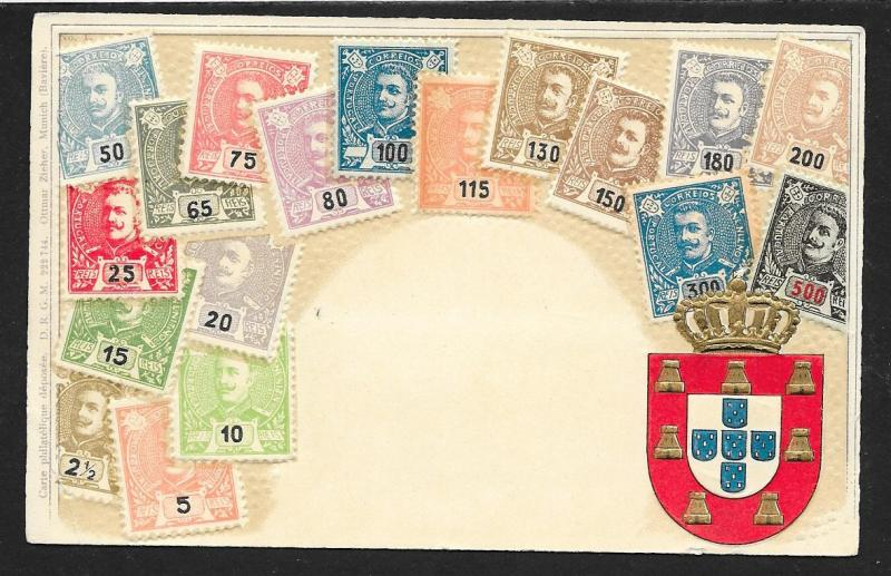 PORTUGAL Stamps on Postcard Embossed Shield Unused c1905