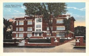 Chanute KS New Art Deco Senior High School~Brick Entrance Pillars 1920s