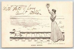 Charles Dana Gibson Girl~Monday Morning~Lovely Lady & Dog Wave~Train Tracks~1900