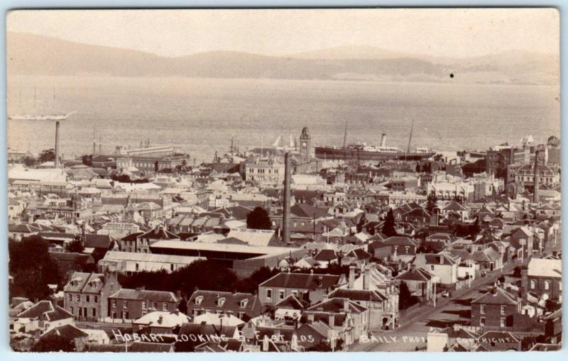 RPPC  HOBART, TASMANIA  Australia   Birdseye looking East  Bailey Photo Postcard