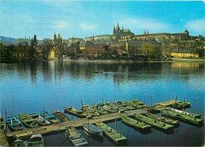 Czech Republic Prague Vitava river castle view pontoon rowing boats Postcard