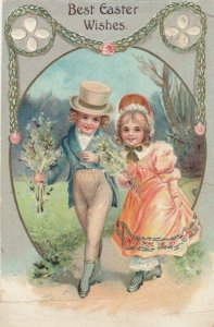 Best EASTER Wishes, Child couple out for a walk, PU-1909