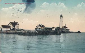 Boston Harbor MA, Massachusetts - The Boston Light House - pm 1913 - DB