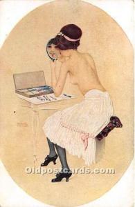 Artist Raphael Kirchner Old Vintage Postcard Marque L-E Peinte par elle-meme ...