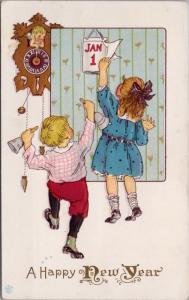 A Happy New Year Boy Girl Children Calendar Series 56D Postcard E25