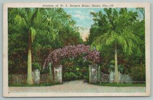 Miami Florida~Gateway Of WJ Bryan's Home~Vintage Postcard