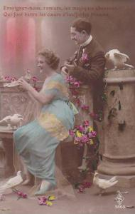 Hand-colored, Man serenading woman holding a pigeon, 10-20s