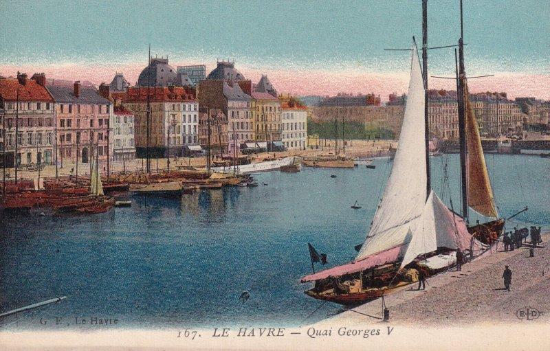 LE HAVRE, Seine Maritime, France, 1900-1910s; Quai Georges, Sail Boat