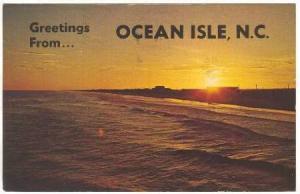 Lone Summer Sunset, Greetings from Ocean Isle, North Carolina, PU-1979