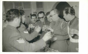 Post card soldiers in uniform having a toast picture celebration