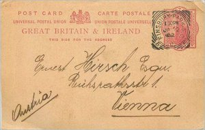 Entier Postal Stationery 1p Finsbury Park in 1902 for Vienna