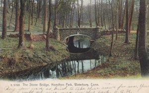 WATERBURY, Connecticut, PU-1907; The Stone Bridge, Hamilton Park