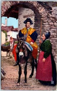Vintage SAVAOIE, France Postcard Costumes de la Savoie Women on Donkey 1915