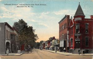 F23 Moundsville West Virginia Postcard c1920 Jefferson Ave Bank Stores 17