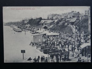 Essex CLACTON ON SEA West Sands BEACH STALLS & BATHING HUTS - Old Postcard