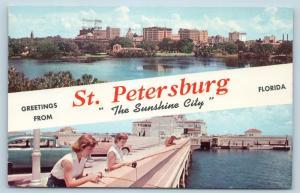 Postcard FL Banner Dual View Greetings From St Petersburg Vintage #2 O11
