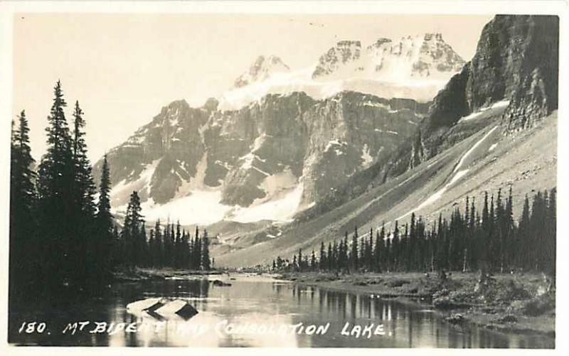 Mt Bident and Consolation Lake Alberta AB Canada Real Photo