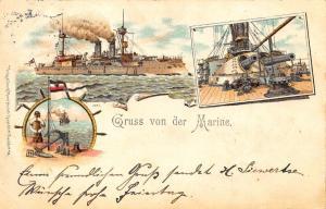 Gruss von der Marine Germany Battle Ships Pioneer Postcard