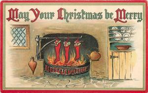Christmas~Stockings Hang From Kettle Rod~Fire Hearth~Heart Bellows~Ernist Nister