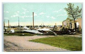 Postcard Old Orchard Beach (OOB), Maine Ruins Seashore & Emerson Fire 1907 Y65
