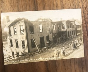 SPRINGFIELD, VT ~ RPPC ~ GILMAN & SON FACTORY FIRE ~ Nov. 4, 1912 POSTCARD PHOTO