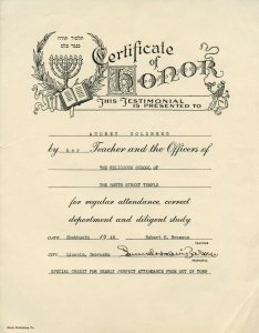 Certificate of Honor Religious School South Street Temple Lincoln NE 1948 Audrey