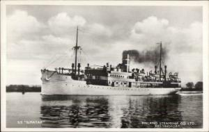 Finland Line Steamship Co Helsingfors SS Ilmatar Real Photo Postcard #1