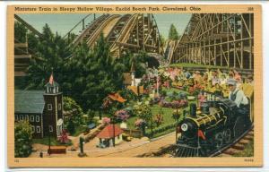 Miniature Train Sleepy Hollow Village Euclid Beach Cleveland Ohio postcard