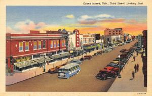 Grand Island Nebraska~Third Street~Grand Theatre~Sears~Kaufmmann's~1942 Linen PC